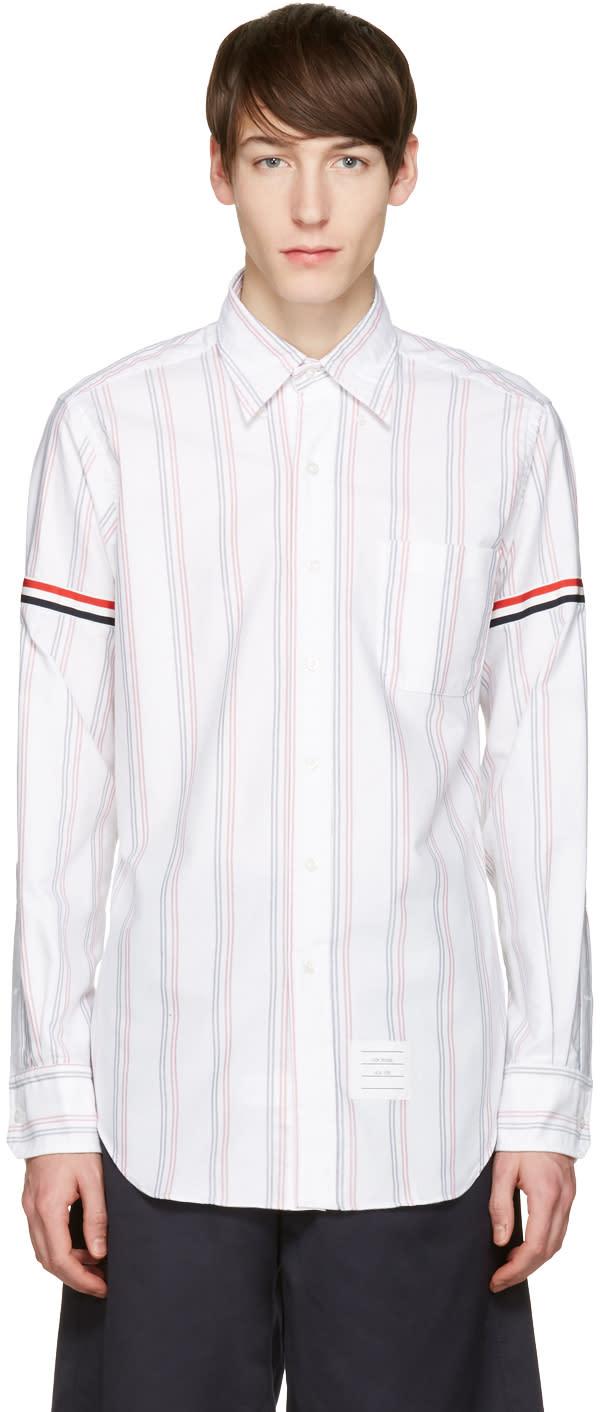 Thom Browne White Striped Grosgrain Classic Shirt