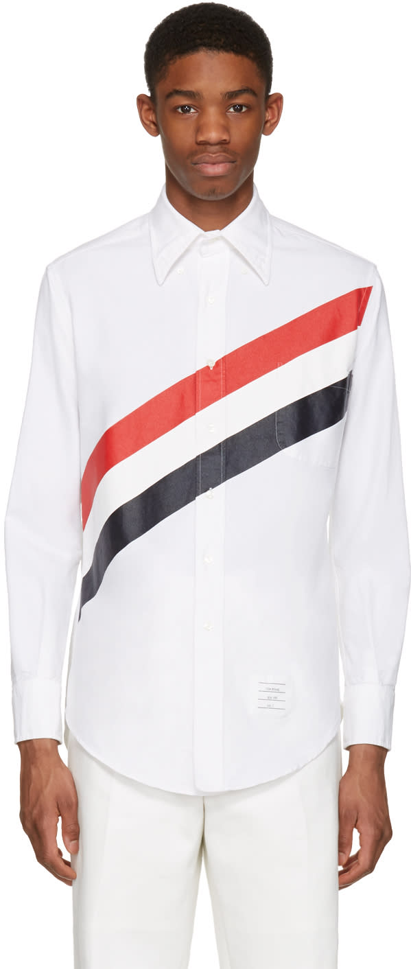 Thom Browne White Diagonal Stripe Classic Shirt
