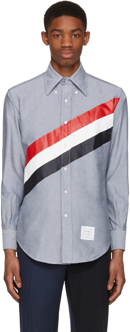 Thom Browne Navy Diagonal Stripe Classic Shirt