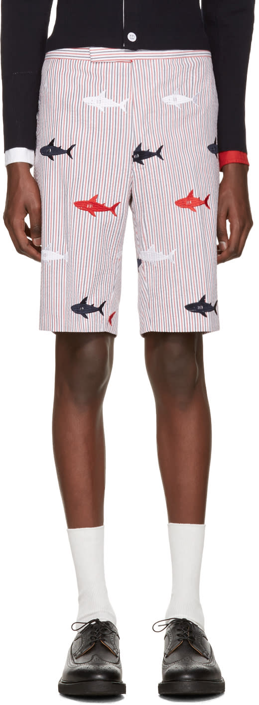 Thom Browne Tricolor Classic Striped Shark Backstrap Shorts