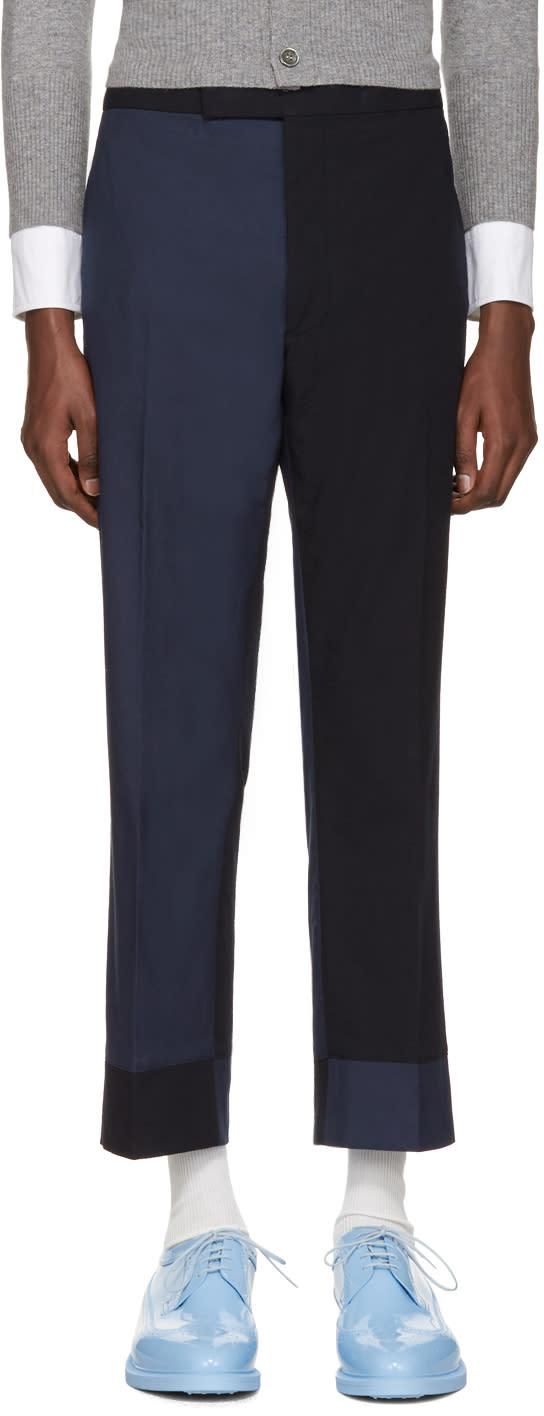 Thom Browne Navy Classic Funmix Trompe Loeil Backstrap Trousers