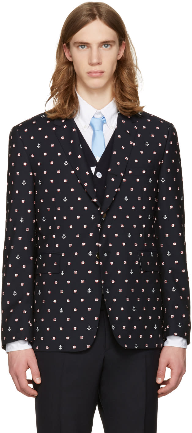 Thom Browne Navy Classic Lifesaver and Anchor Blazer