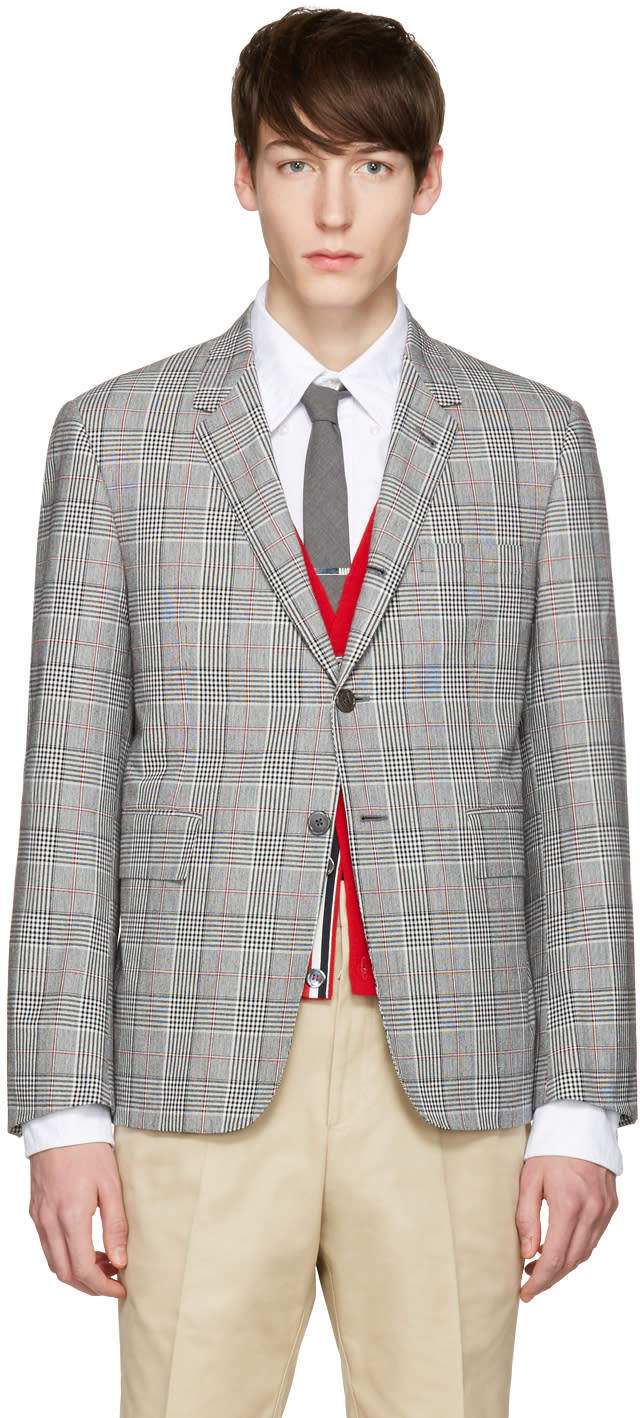 Thom Browne Tricolor Classic Gingham Blazer