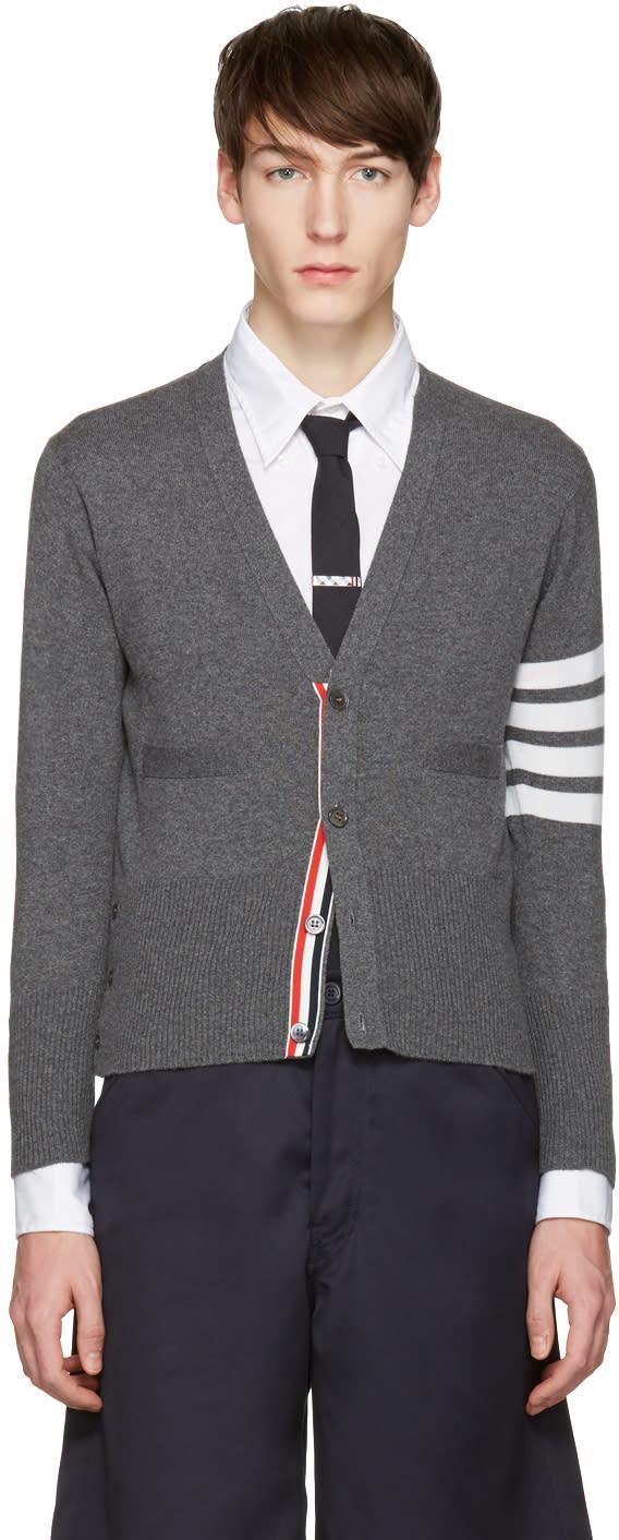 Thom Browne Grey Classic Short V-neck Cardigan
