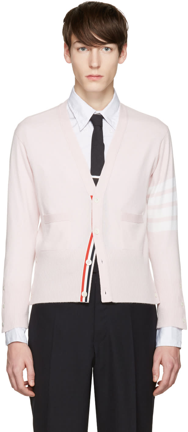 Thom Browne Pink Classic Short V-neck Cardigan