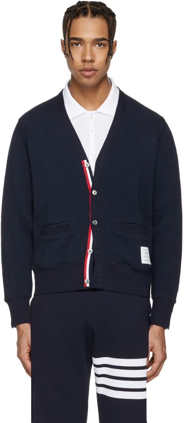 Thom Browne Navy V-neck Cardigan
