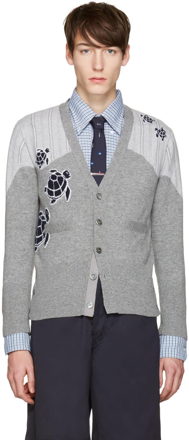 Thom Browne Grey Sea Animal V-neck Cardigan