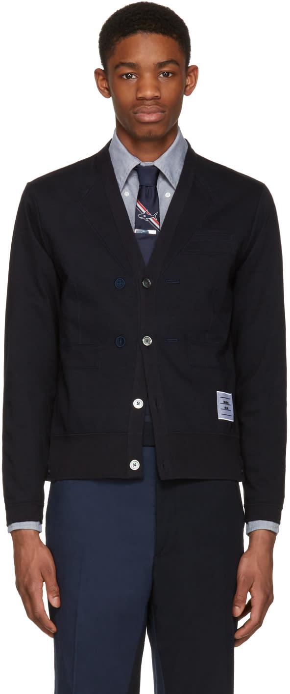 Thom Browne Navy Trompe Loeil Sport Coat Cardigan