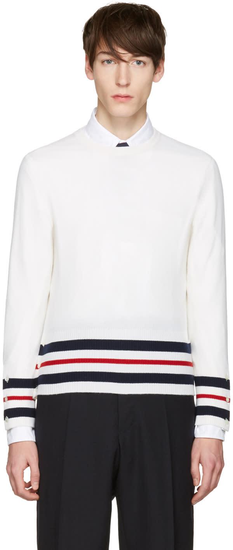 Thom Browne White Classic Crewneck Short Pullover