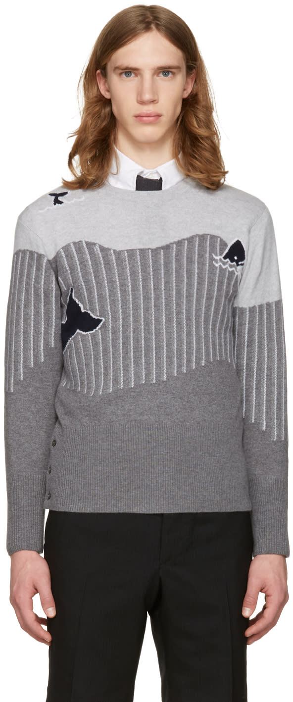 Thom Browne Grey Sea Animal Classic Pullover