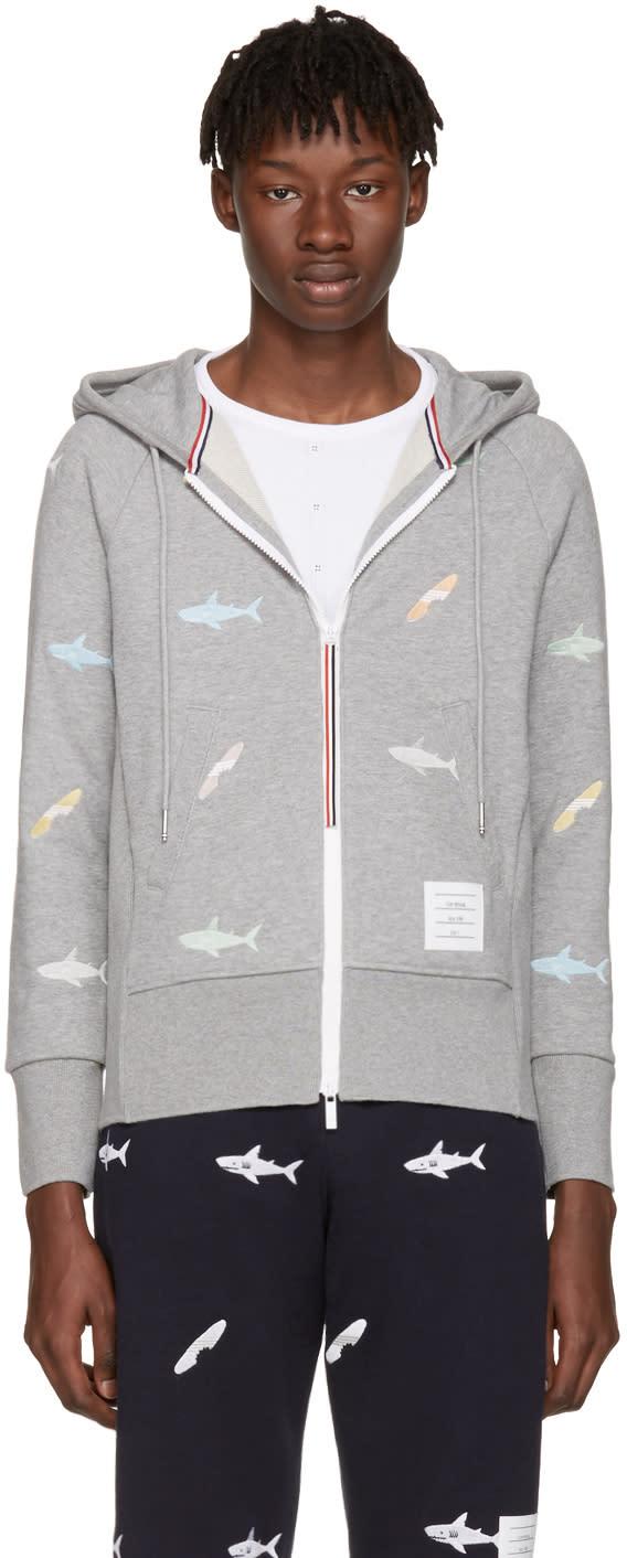 Thom Browne Grey Classic Shark and Surfboard Zip Hoodie