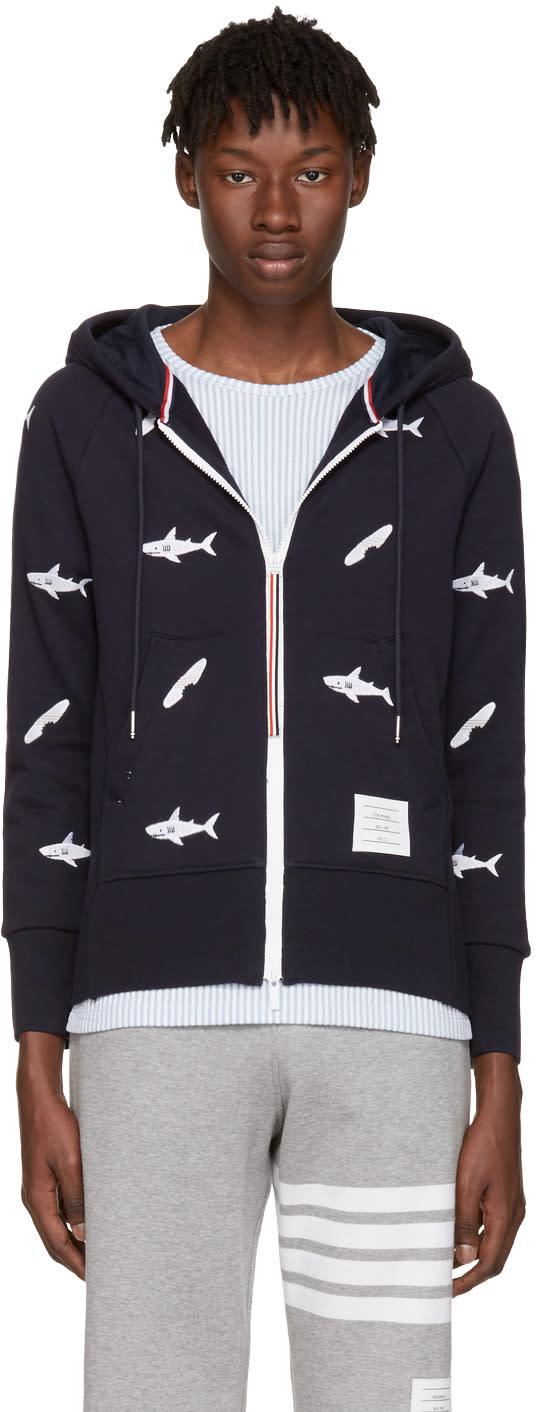 Thom Browne Navy Classic Shark and Surfboard Zip Hoodie