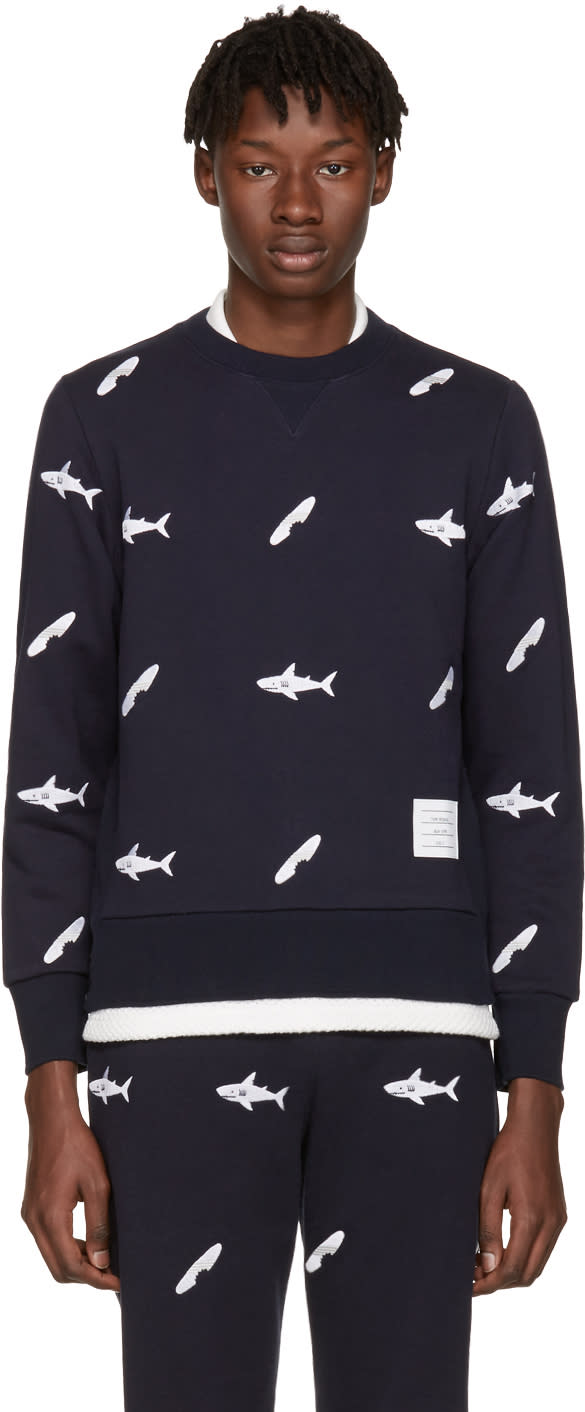 Thom Browne Navy Shark and Surfboard Pullover