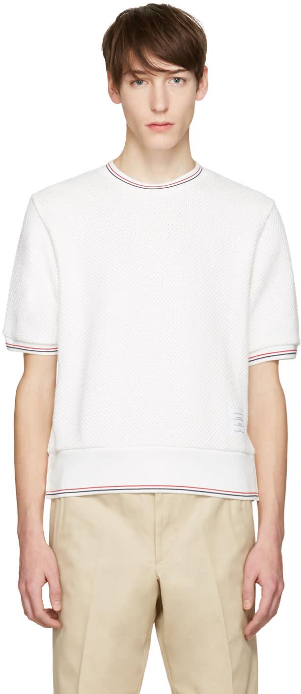 Thom Browne White Rib Cuff T-shirt