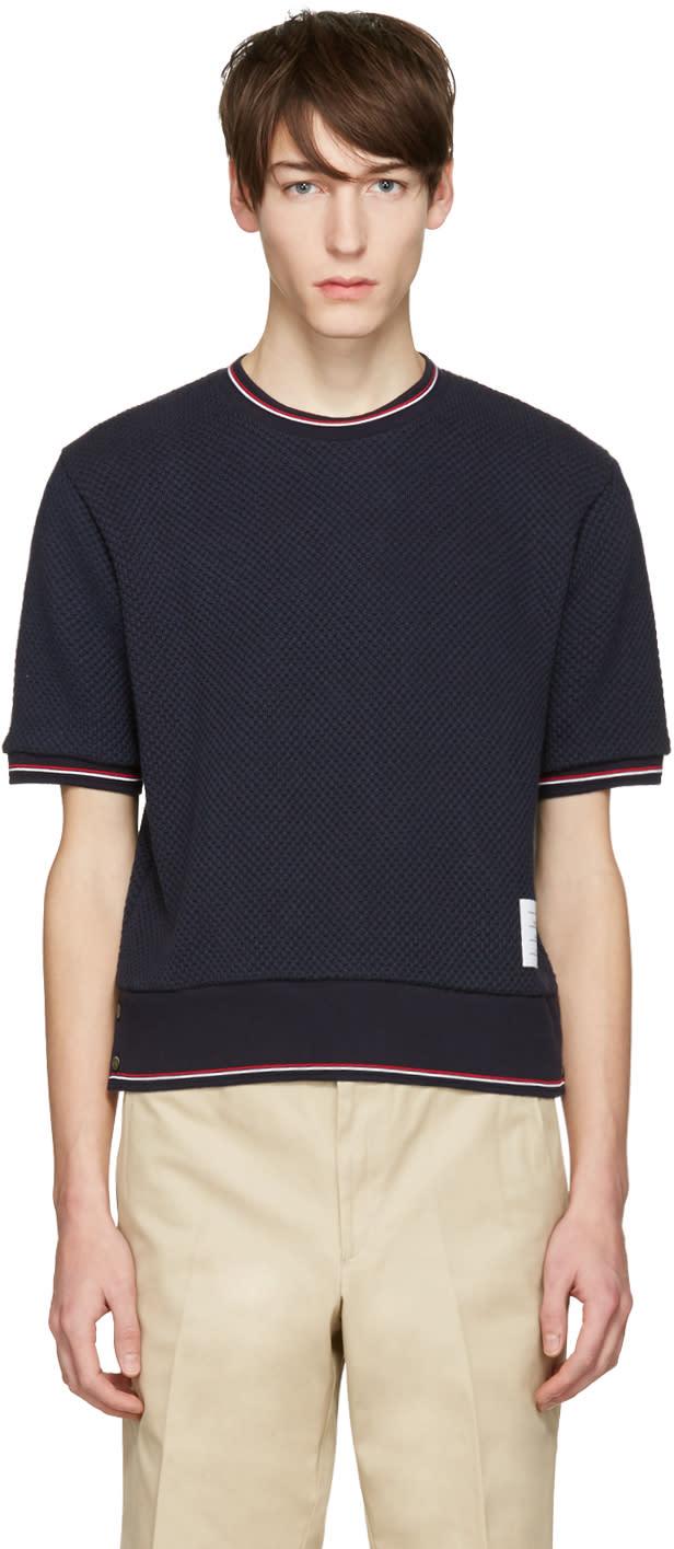 Thom Browne Navy Rib Cuff T-shirt