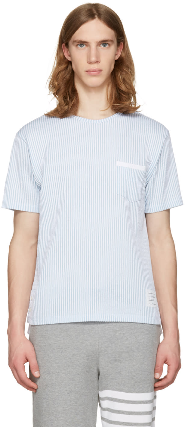 Thom Browne Blue Striped Pocket T-shirt