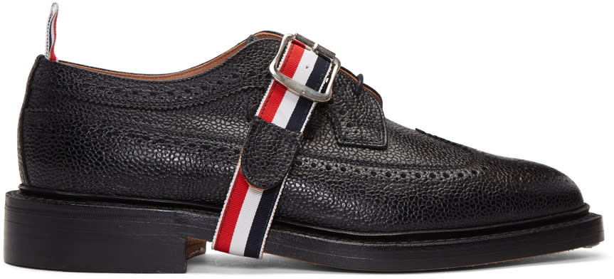 Thom Browne Black Classic Longwing Strap Brogues