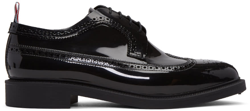 Thom Browne Black Rubber Classic Longwing Brogues