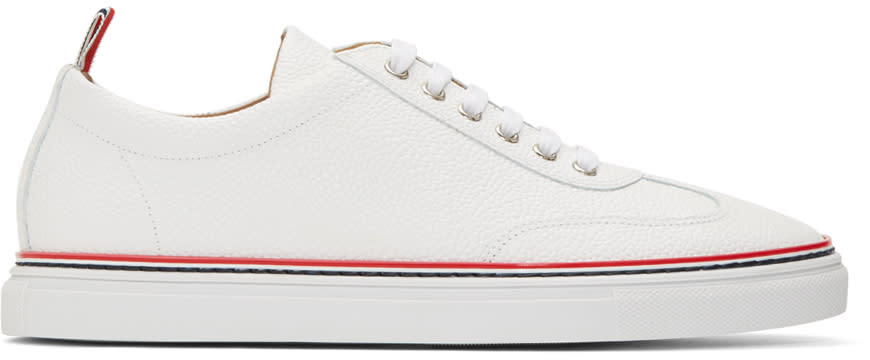 Thom Browne White Pebbled Leather Sneakers