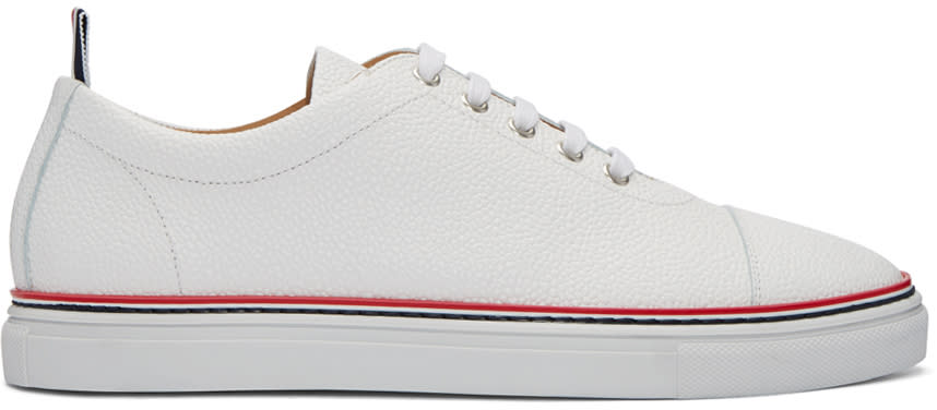 Thom Browne White Straight Toe Cap Sneakers