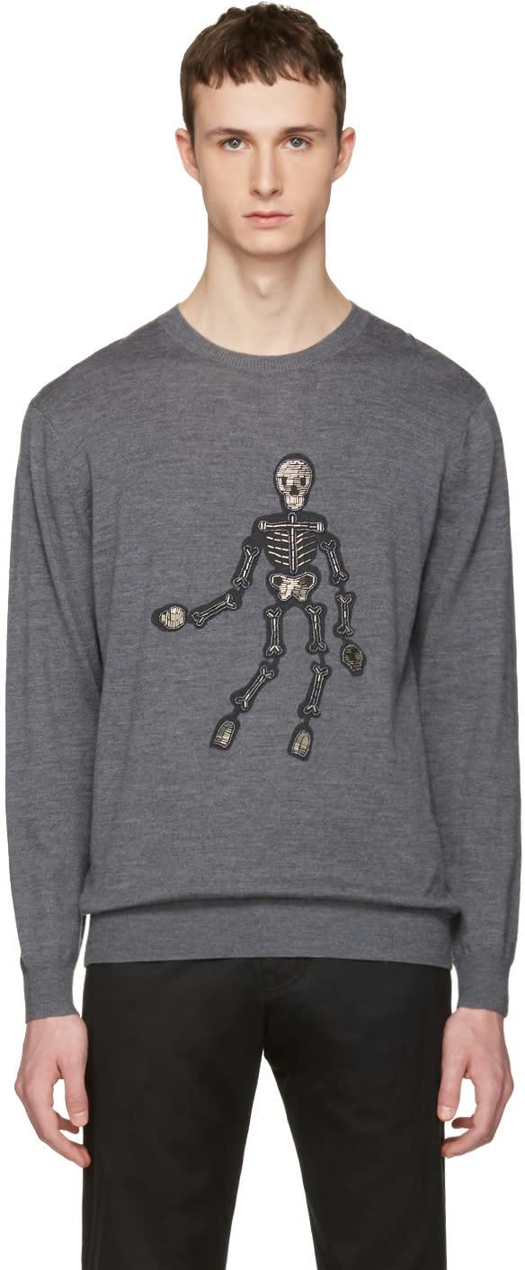 Markus Lupfer Grey Embellished Skeleton Pullover