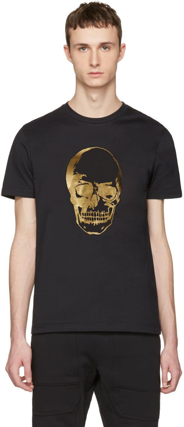 Markus Lupfer Black and Gold Skull T-shirt