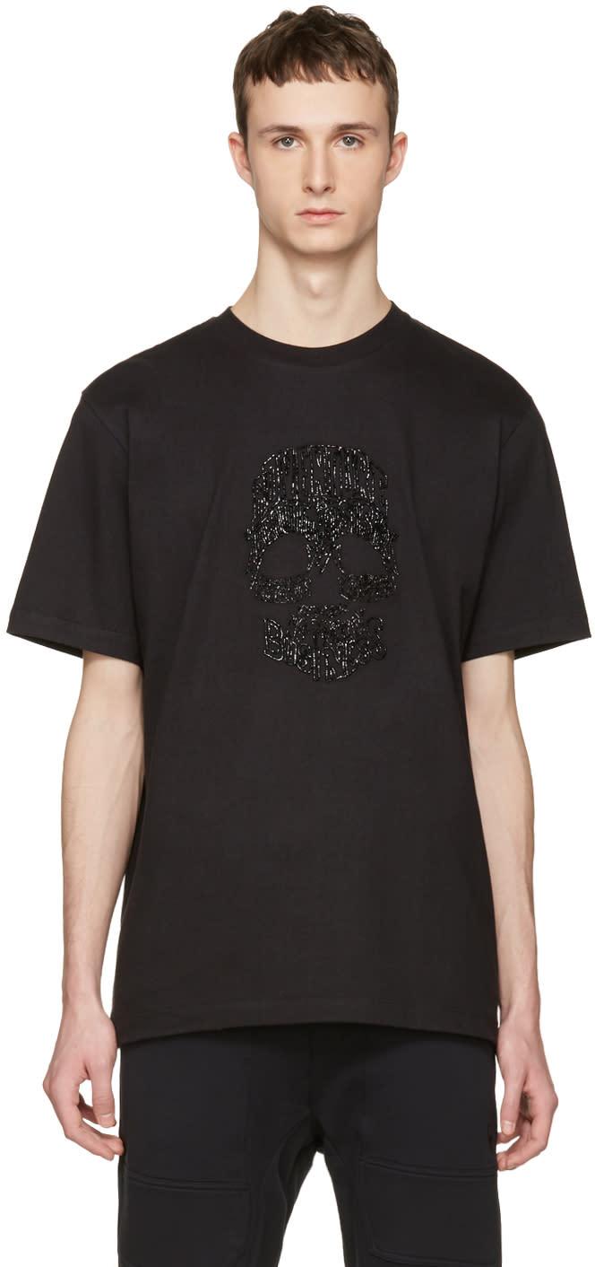 Markus Lupfer Black Beaded Skull T-shirt