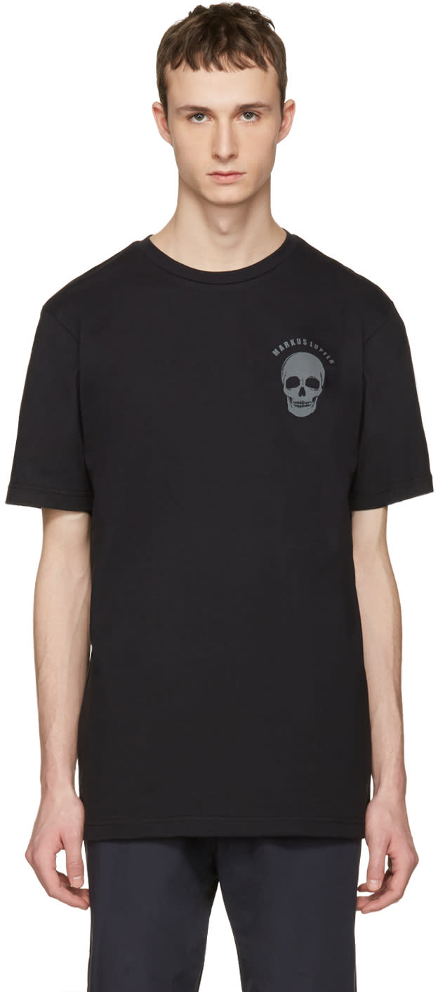 Image of Markus Lupfer Black Logo and Skull T-shirt