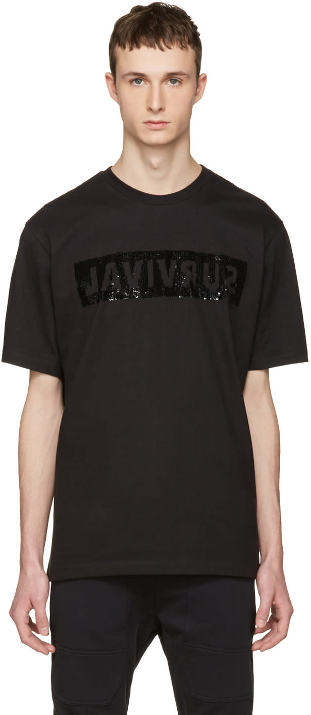 Image of Markus Lupfer Black Sequin Survival T-shirt