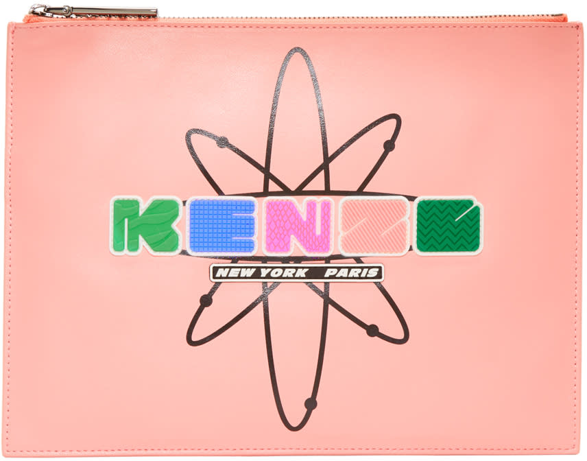 Kenzo Pink Leather Cory Pouch