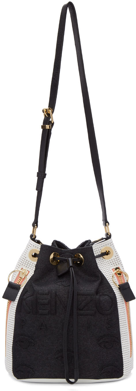 Kenzo Black and White Kombo Bucket Bag