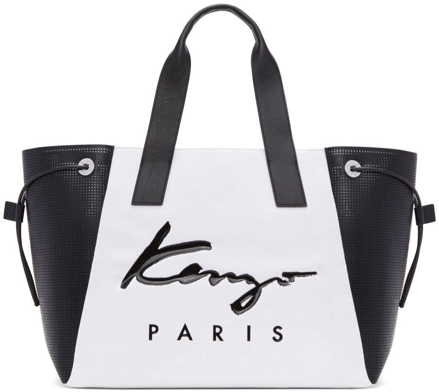 Kenzo White and Black Large Logo Essentials Tote