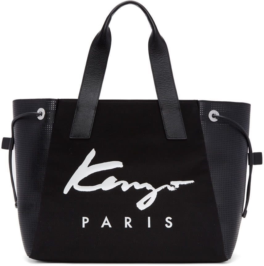Kenzo Black Large Logo Essentials Tote
