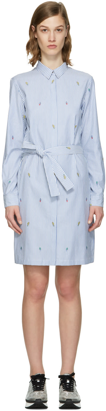 Kenzo Blue Striped Cartoon Dress
