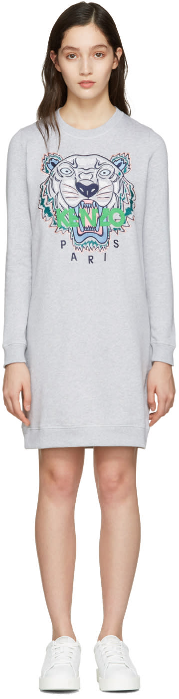Kenzo Grey Tiger Pullover Dress