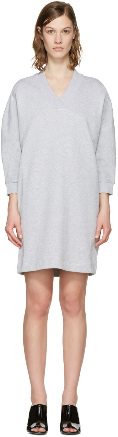 Kenzo Grey V-neck Logo Dress
