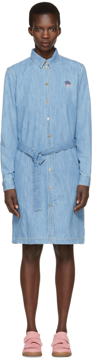 Kenzo Blue Denim Shirt Dress
