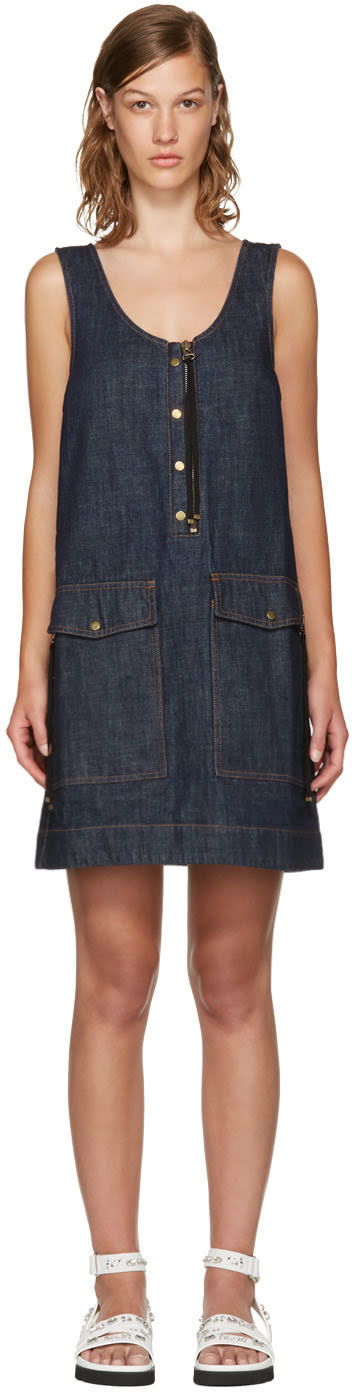 Kenzo Blue Denim Pockets Dress
