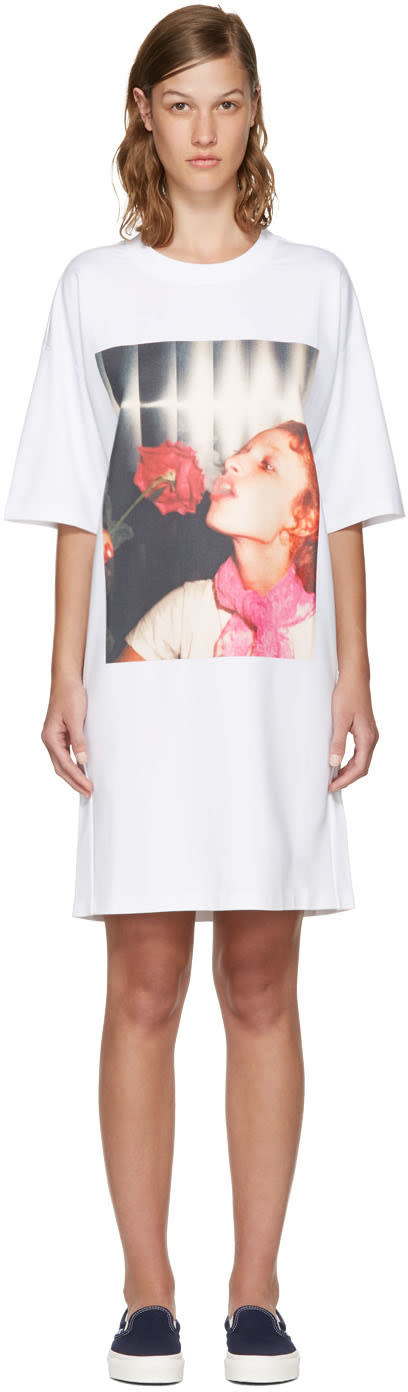 Kenzo White Donna Jordan Oversized T-shirt Dress