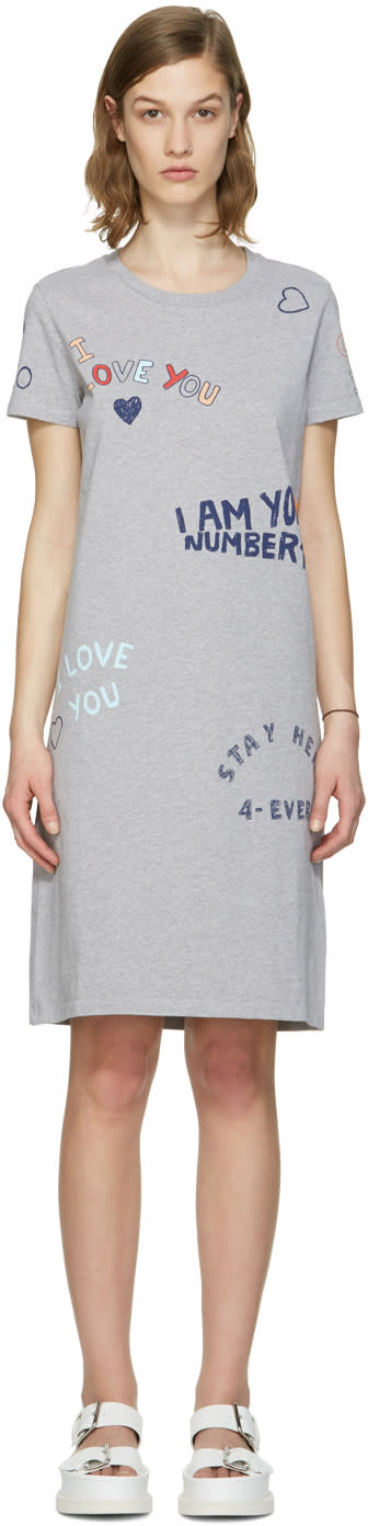 Kenzo Grey Valentines Text Dress