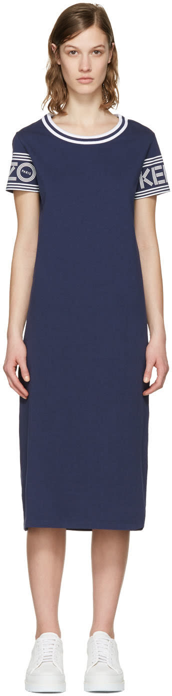 Kenzo Navy Logo Sleeve Dress