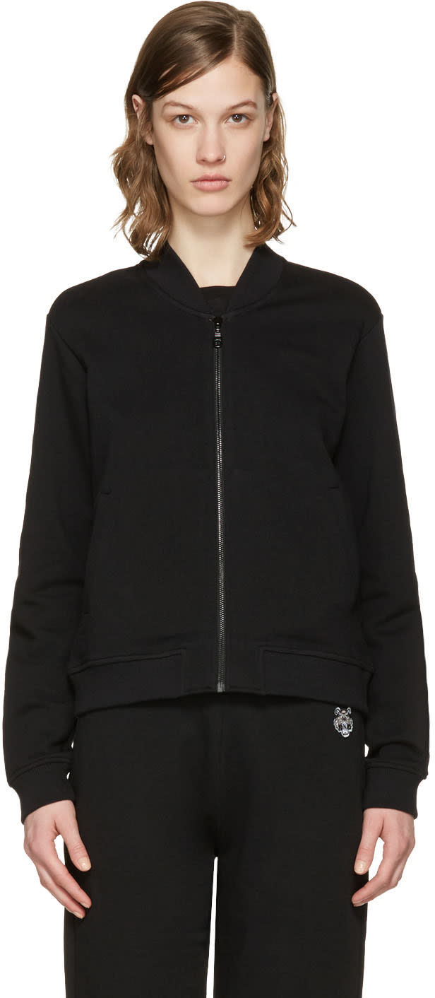 Kenzo Black Embroidered Tiger Zip-up Pullover