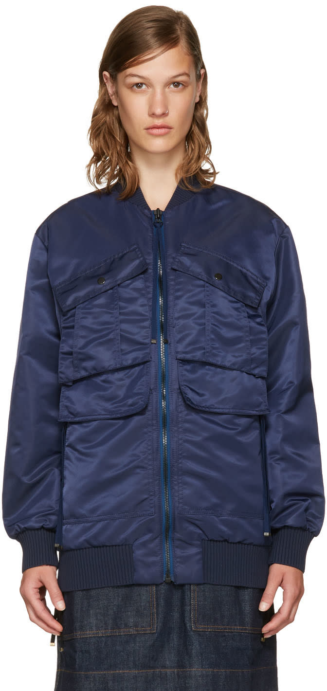 Kenzo Navy Elevated Military Pockets Bomber Jacket