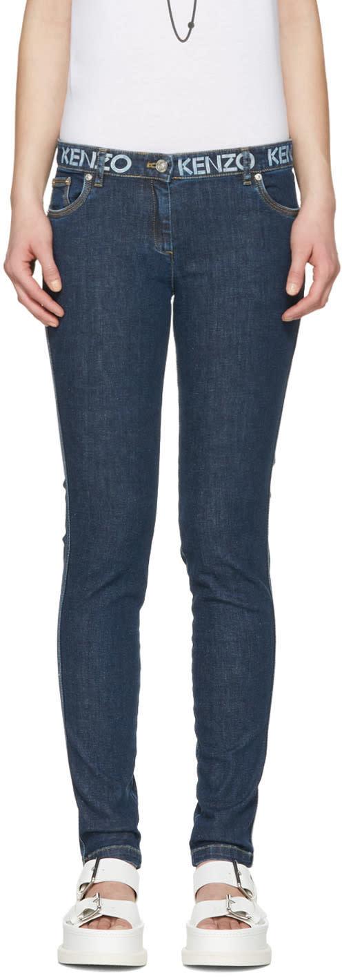 Kenzo Blue Logo Waistband Jeans