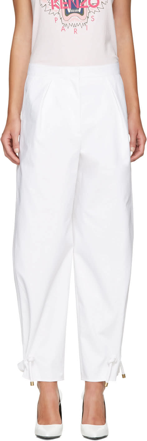 Kenzo White High Waisted Tapered Trousers