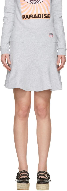 Kenzo Grey Tiger Crest Miniskirt