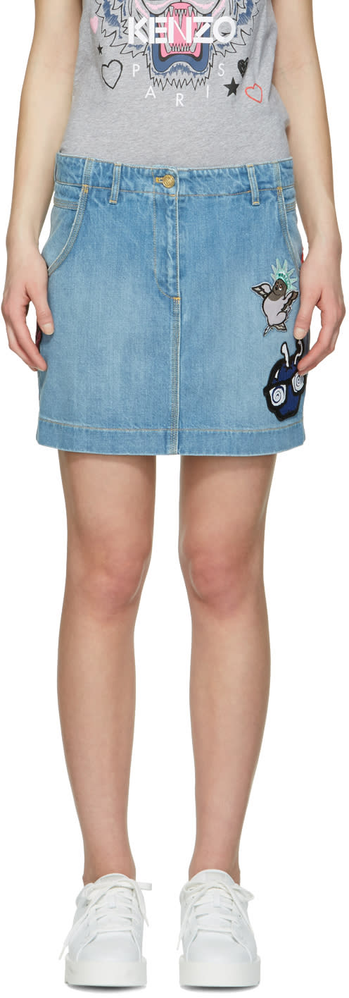 Kenzo Blue Denim Embroidered Skirt