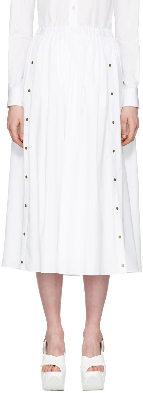 Kenzo White Poplin Buttoned Skirt