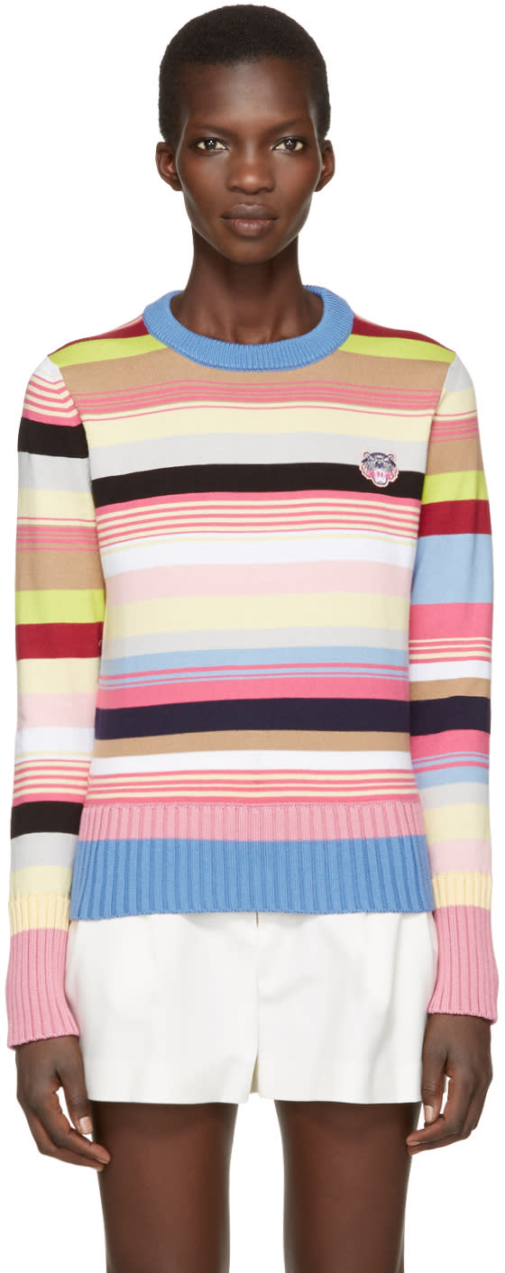 Kenzo Pink Striped Tiger Crest Pullover