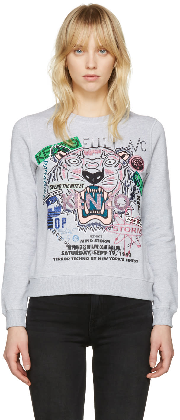 Kenzo Grey Flyer Tiger Pullover